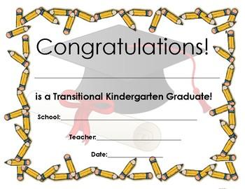 Pre-K, TK, and Kindergarten graduation certificate