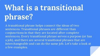 Transitional Phrases Interactive Powerpoint