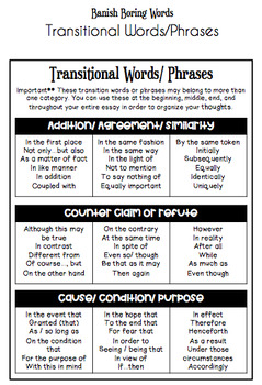 Transitional Phrases for Older Students *FREEBIE**