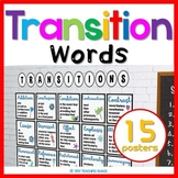 Transitional Word Posters and Reference Chart (Cursive and Print)
