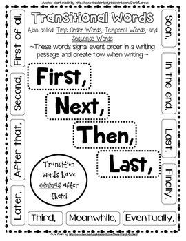 Transitional Words Anchor C... by LaRoux | Teachers Pay Teachers