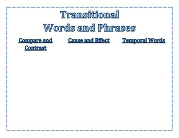 Transitional Words Chart