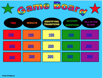 Transitional Words Interactive Game! Kids love it! Also an awesome template.