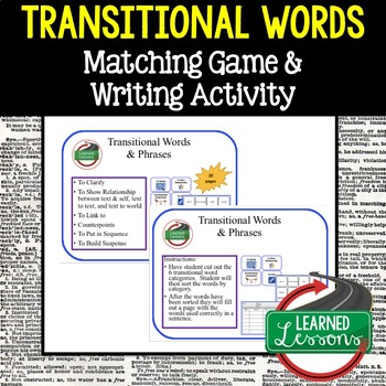 ELA Transitional Words Matching Game and Sentence Writing Activity