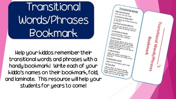 Transitional Words/Phrases Bookmark