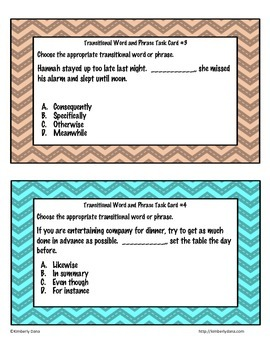 Transitional Words and Phrases Task Cards