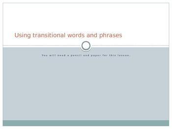 Transitional Words and Phrases in Writing