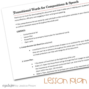 Transitional Words for Compositions & Speech - Spanish and English