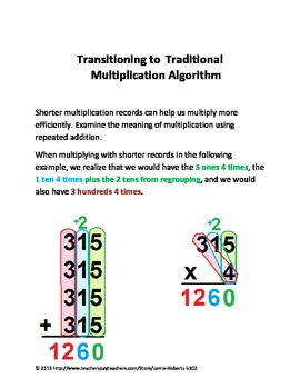 Transitioning From Area Model to Traditional Multiplication Algorithm