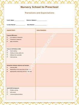 Transitioning from Nursery School to Preschool - Parent/Teacher Meeting Form