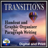Transition Words and Phrases Handout and Paragraph Writing Graphic Organizer