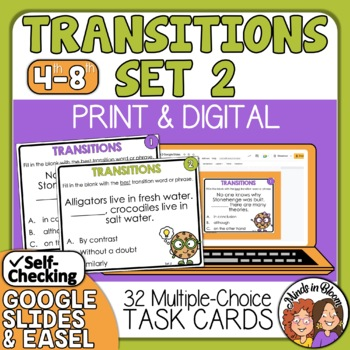 Transitions Task Cards: Transition Words and Phrases Sente
