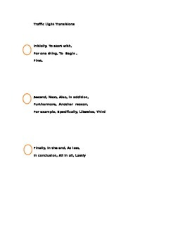 Transitions Words Reference Page