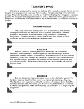 Transitions - Write On! How to Recognize and Use Transitions in Writing