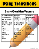 Transitions Writing Poster Cause/Condition/Purpose
