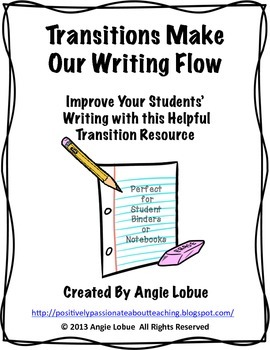 Transitions Writing Resource for Writing Notebooks, Binders, or Folders
