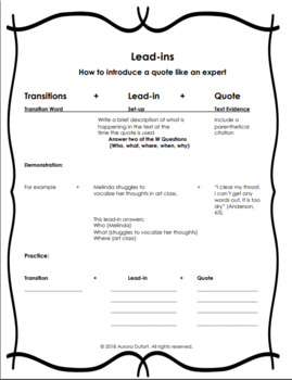 Transitions and Lead-ins Handout