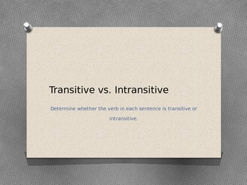 Transitive VS Intransitive
