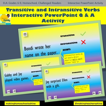 Transitive and Intransitive Verbs Interactive Activity