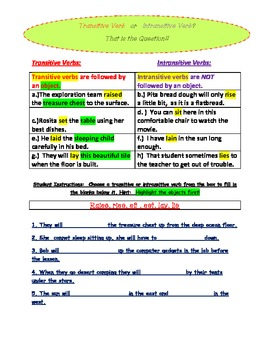 Transitive and Intransitive Verb Introductory Activity Sheet by Beck ...