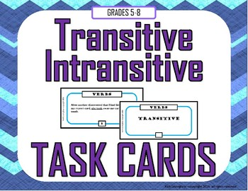 Transitive and Intransitive Verb Task Cards