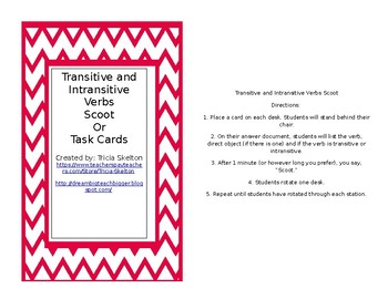 Transitive and Intransitive Verbs Scoot or Task Cards