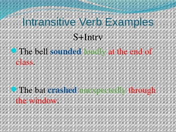 Transitive and Intransitive Verbs--Showing Action Power Point Presentation