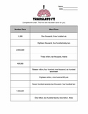 Translate It! Standard Form and Word Form 5.NBT.A.1