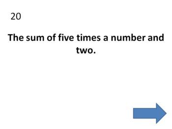Translate Mathematical Expressions BINGO (Mrs Math)