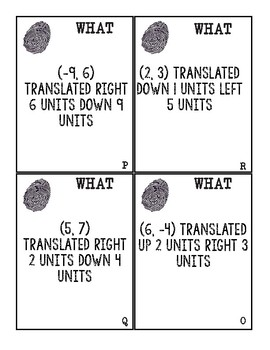 Translate Points on the Coordinate Plane Who Dunnit Task Cards