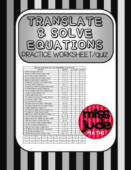 Translate & Solve Simple Equations [practice worksheet or quiz]