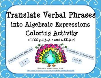 Translate Verbal Phrases into Algebraic Expressions-CCSS 5