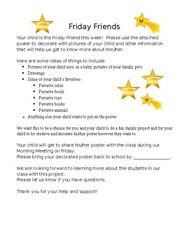 Translated All About Me Friday Friend parent instruction note