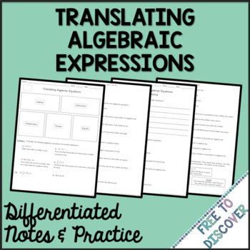 Translating Algebraic Equations Differentiated Notes and Practice