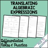 Translating Algebraic Equations Notes and Practice (Differ