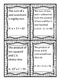 Translating Algebraic Equations Head Bandz