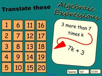 Translating Algebraic Expressions 6th CCSS
