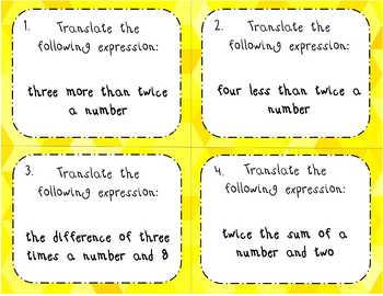 Translating Algebraic Expressions BIG BUNDLE Scoot & I Have Who Has - 2 Levels