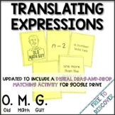 Translating Algebraic Expressions Card Game