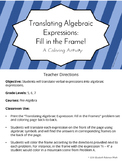 Translating Algebraic Expressions - Fill in the Frame! (Color By Number)
