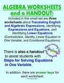 Translating Algebraic Expressions & Identify Linear Equations Worksheets