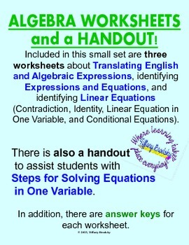 Translating Algebraic Expressions & Identify Linear Equations Worksheets