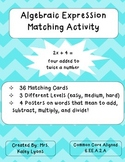 Translating Algebraic Expressions Matching Activity