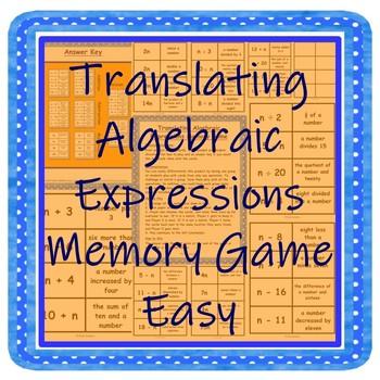 Translating Algebraic Expressions Memory Game Easy