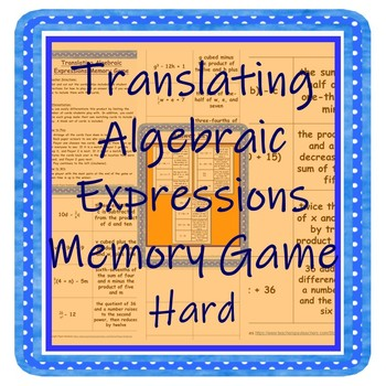 Translating Algebraic Expressions Memory Game Hard