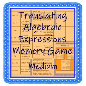 Translating Algebraic Expressions Memory Game--Medium