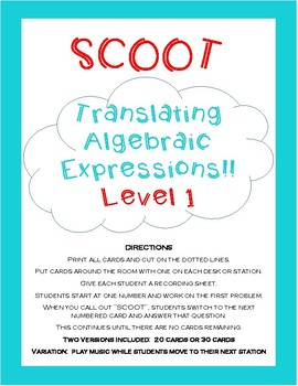 Translating Algebraic Expressions SCOOT - Level 1