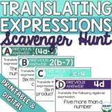 Translating Algebraic Expressions Scavenger Hunt (Digital