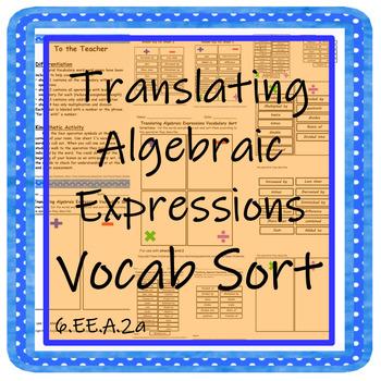 Translating Algebraic Expressions Vocab Sort