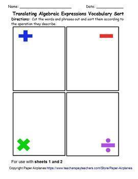Translating Algebraic Expressions Vocab Sort with Differentiation